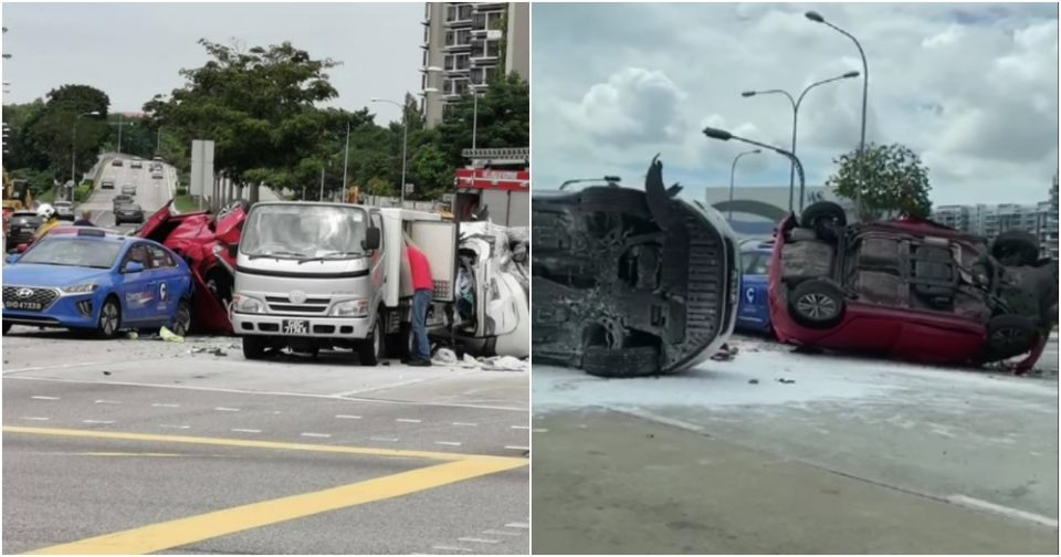 Woman taken to hospital after 7-vehicle accident at Pasir Ris junction